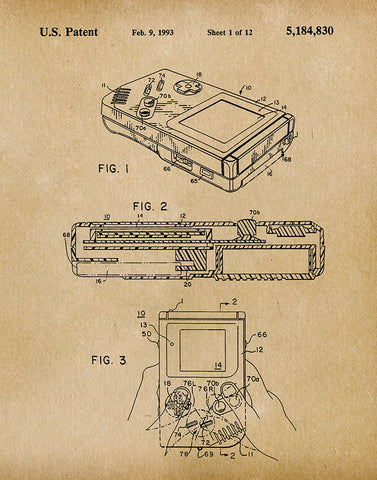 An image of a(n) Nintendo Gameboy 1993 - Patent Art Print - Parchment.