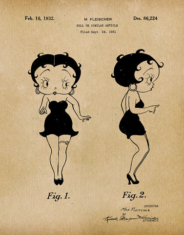 An image of a(n) Betty Boop 1932 - Patent Art Print - Parchment.