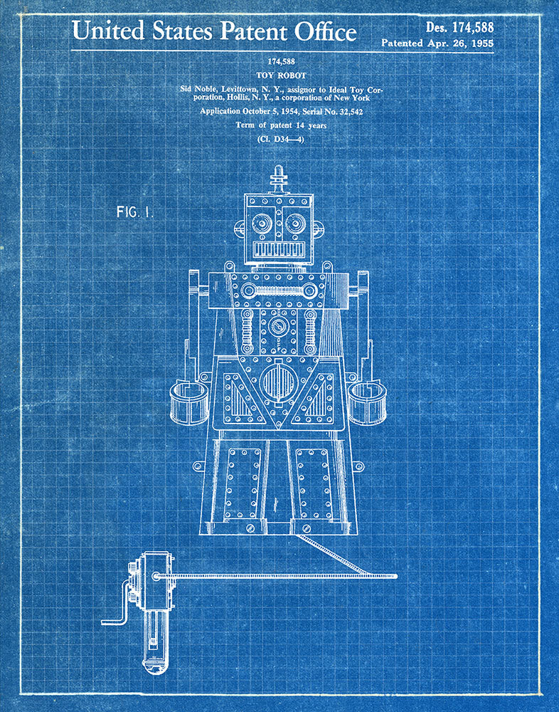 Toy Robot 1955 Patent Art Print Blueprint Fresh
