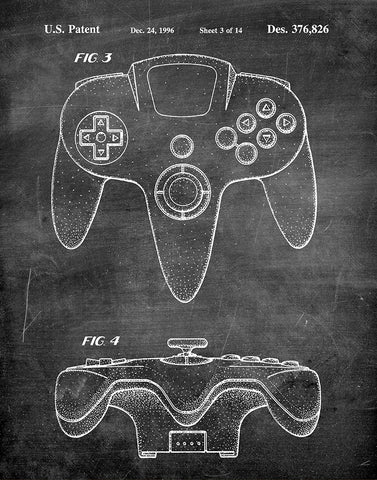 An image of a(n) Nintendo 64 Game Controller 1996 - Patent Art Print - Chalkboard.