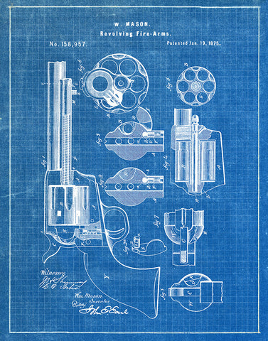 An image of a(n) W Mason Revolver 1875 - Patent Art Print - Blueprint.