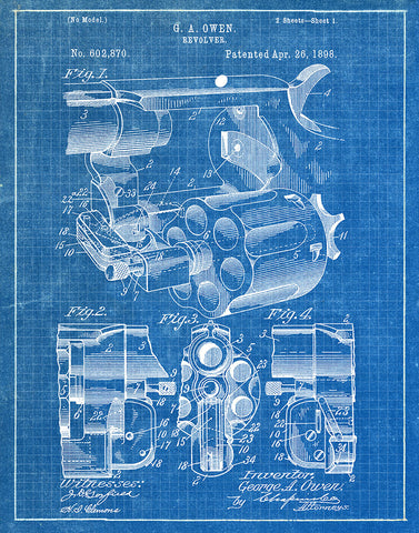 An image of a(n) Owen Revolver 1898 - Patent Art Print - Blueprint.