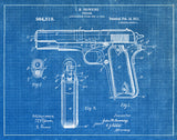 An image of a(n) Browning Firearm 1911 - Patent Art Print - Blueprint.