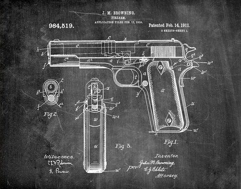 An image of a(n) Browning Firearm 1911 - Patent Art Print - Chalkboard.