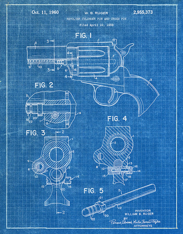 An image of a(n) Revolver Pin 1959 - Patent Art Print - Blueprint.