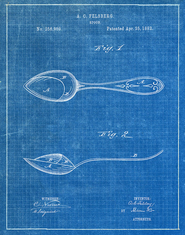 An image of a(n) Spoon 1882 - Patent Art Print - Blueprint.