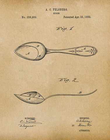 An image of a(n) Spoon 1882 - Patent Art Print - Parchment.