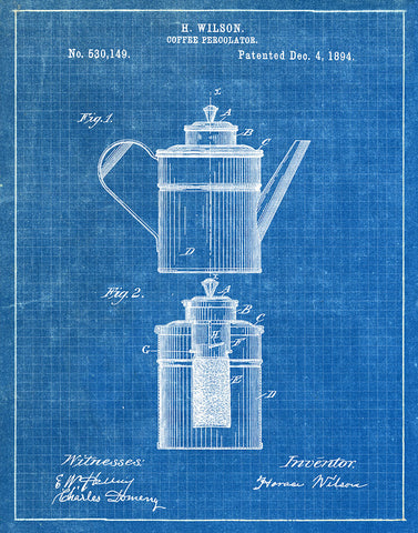 An image of a(n) Coffee Percolator 1894 - Patent Art Print - Blueprint.
