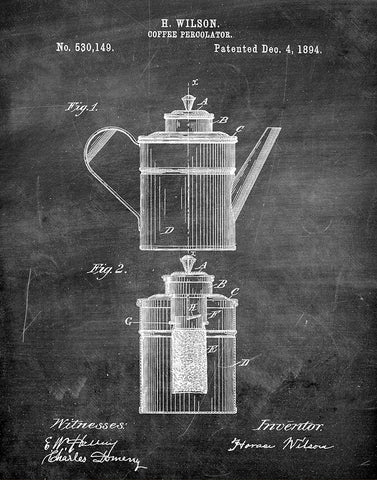 An image of a(n) Coffee Percolator 1894 - Patent Art Print - Chalkboard.