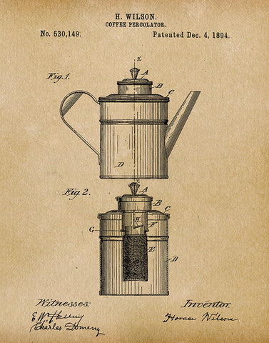 An image of a(n) Coffee Percolator 1894 - Patent Art Print - Parchment.