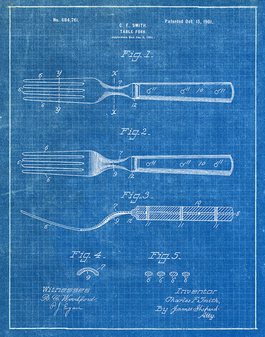 An image of a(n) Fork 1901 - Patent Art Print - Blueprint.