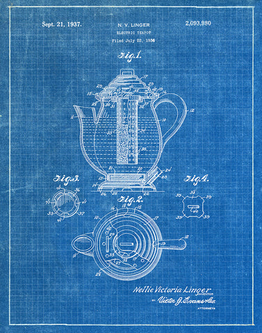 An image of a(n) Electric Teapot 1937 - Patent Art Print - Blueprint.