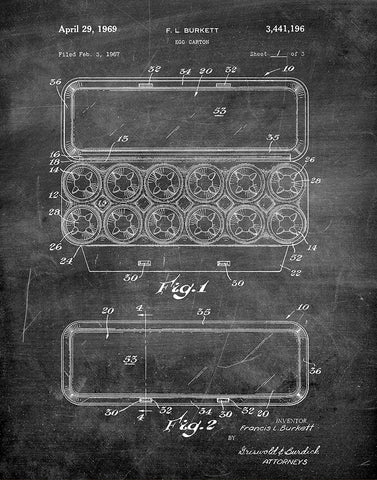 An image of a(n) Egg Carton 1969 - Patent Art Print - Chalkboard.