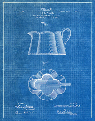 An image of a(n) Kitchen Pitcher 1904 - Patent Art Print - Blueprint.