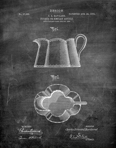 An image of a(n) Kitchen Pitcher 1904 - Patent Art Print - Chalkboard.