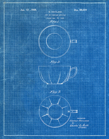 Tea cup 1926 patent art print blueprint fresh prints of ct an image of an tea cup 1926 patent art print blueprint malvernweather Image collections