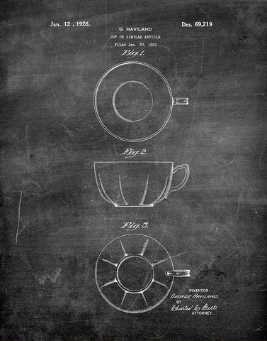 An image of a(n) Tea Cup 1926 - Patent Art Print - Chalkboard.