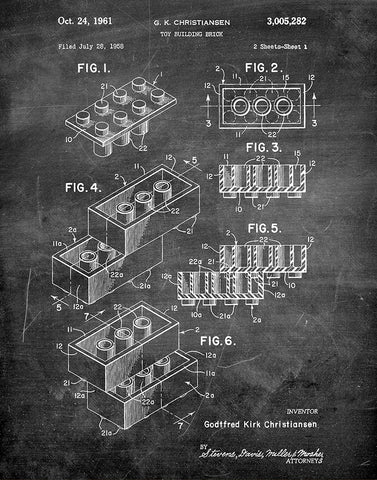 An image of a(n) Lego Sheet1 1961 - Patent Art Print - Chalkboard.