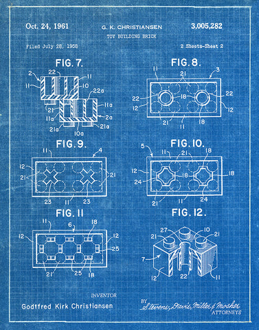 An image of a(n) Lego Sheet2 1961 - Patent Art Print - Blueprint.