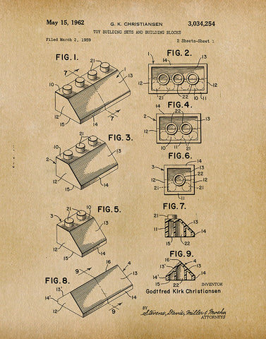 An image of a(n) Lego 1962 - Patent Art Print - Parchment.