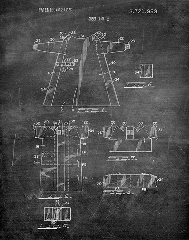 An image of a(n) Medical Coat 1973 - Patent Art Print - Chalkboard.