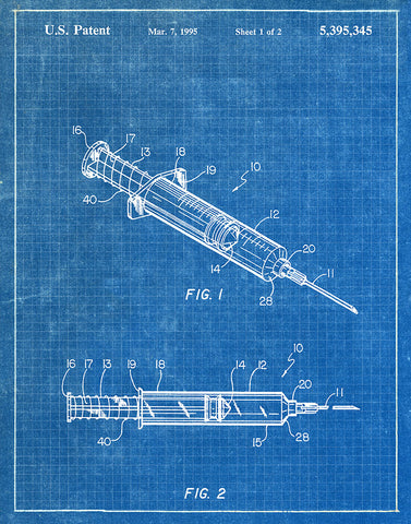 An image of a(n) Syringe 1995 - Patent Art Print - Blueprint.