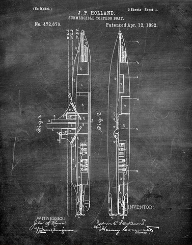 An image of a(n) Submarine 1892 - Patent Art Print - Chalkboard.