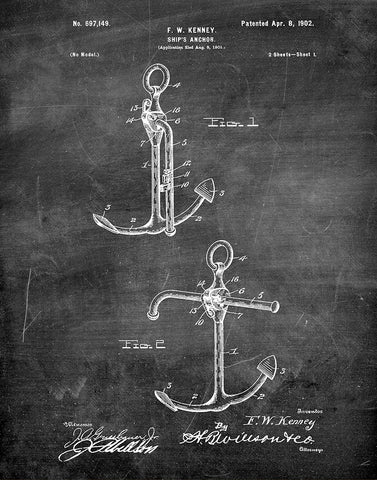 An image of a(n) Ship Anchor 1902 - Patent Art Print - Chalkboard.
