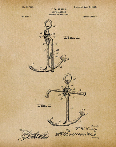 An image of a(n) Ship Anchor 1902 - Patent Art Print - Parchment.