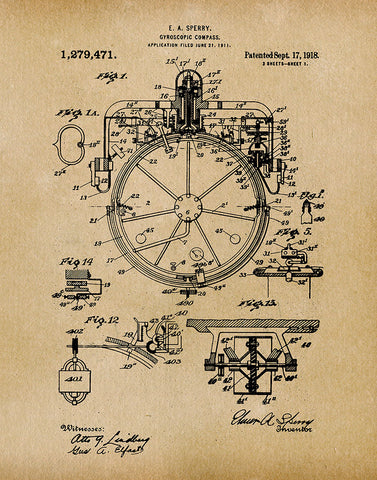 An image of a(n) Compass 1918 - Patent Art Print - Parchment.