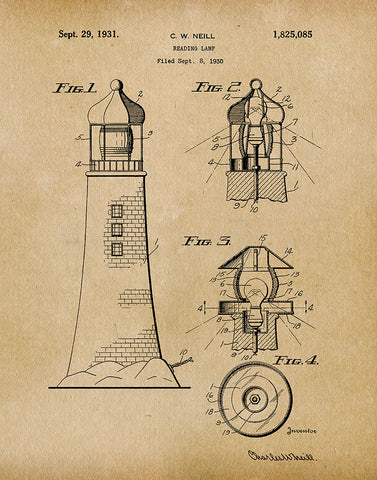 An image of a(n) Lighthouse Lamp 1930 - Patent Art Print - Parchment.