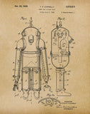 An image of a(n) Deep Sea Diving Suit 1935 - Patent Art Print - Parchment.