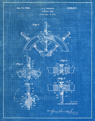 Ship steering wheel 1944 patent art print blueprint fresh an image of an ship steering wheel 1944 patent art print malvernweather Choice Image