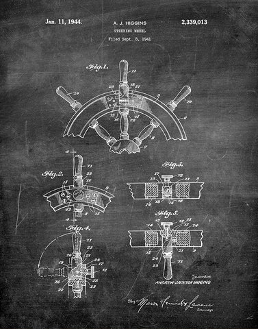 An image of a(n) Ship Steering Wheel 1944 - Patent Art Print - Chalkboard.