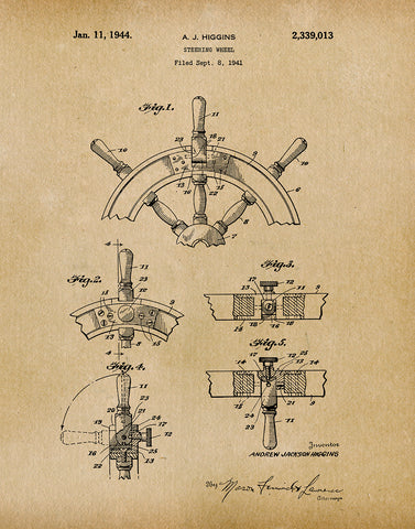 An image of a(n) Ship Steering Wheel 1944 - Patent Art Print - Parchment.