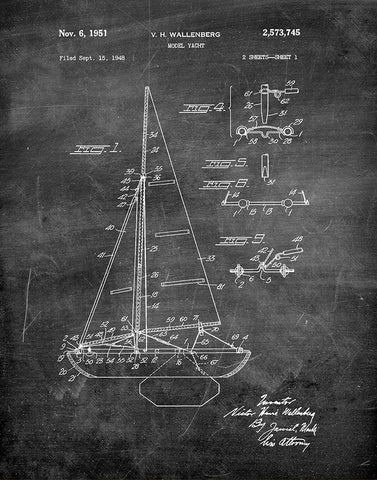 An image of a(n) Yacht 1951 - Patent Art Print - Chalkboard.