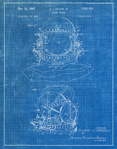 An image of a(n) Diving Helmet 1967 - Patent Art Print - Blueprint.