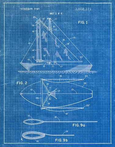 Patent art prints tagged nautical fresh prints of ct an image of an sailboat 1974 patent art print blueprint malvernweather Image collections