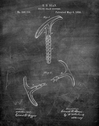 An image of a(n) Police Chain Nippers 1884 - Patent Art Print - Chalkboard.