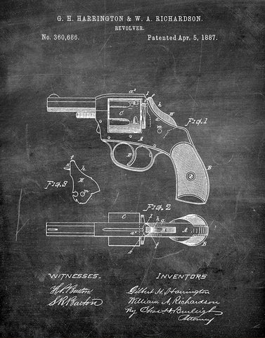 An image of a(n) Police Revolver 1887 - Patent Art Print - Chalkboard.