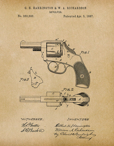 An image of a(n) Police Revolver 1887 - Patent Art Print - Parchment.
