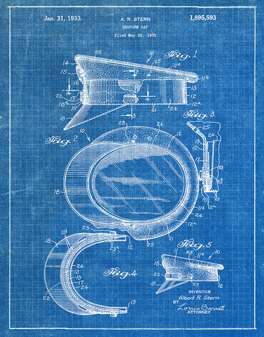 An image of a(n) Police Cap 1933 - Patent Art Print - Blueprint.