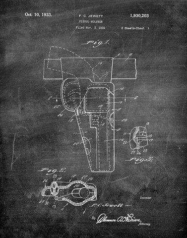 An image of a(n) Pistol Holster 1933 - Patent Art Print - Chalkboard.