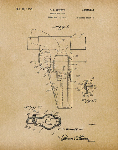 An image of a(n) Pistol Holster 1933 - Patent Art Print - Parchment.