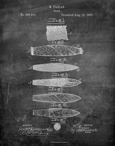 An image of a(n) Cigar 1887 - Patent Art Print - Chalkboard.