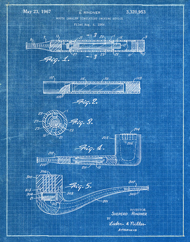 An image of a(n) Smoking Device 1967 - Patent Art Print - Blueprint.