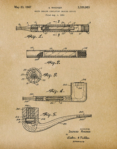 An image of a(n) Smoking Device 1967 - Patent Art Print - Parchment.
