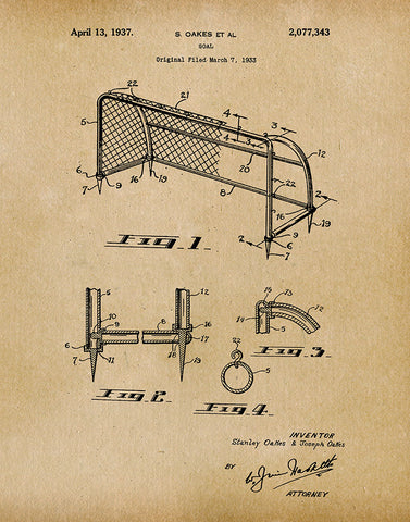 An image of a(n) Soccer Goal 1937 - Patent Art Print - Parchment.