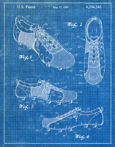 An image of a(n) Soccer Shoes 1980 - Patent Art Print - Blueprint.
