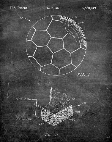 An image of a(n) Soccer ball 1996 - Patent Art Print - Chalkboard.